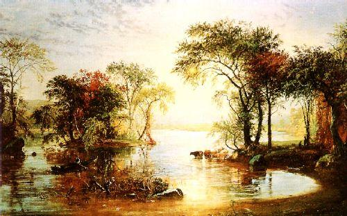 Jasper Cropsey Sunset Sailing oil painting image